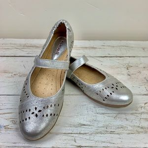 Romika Silver Leather Laser Cut Out Flats